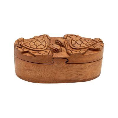 Drevená krabička na šperky Dve korytnačky