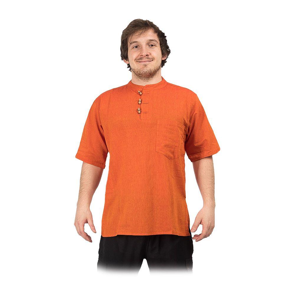 Kurta Pendek Jeruk - pánska košeľa s krátkym rukávom Nepal
