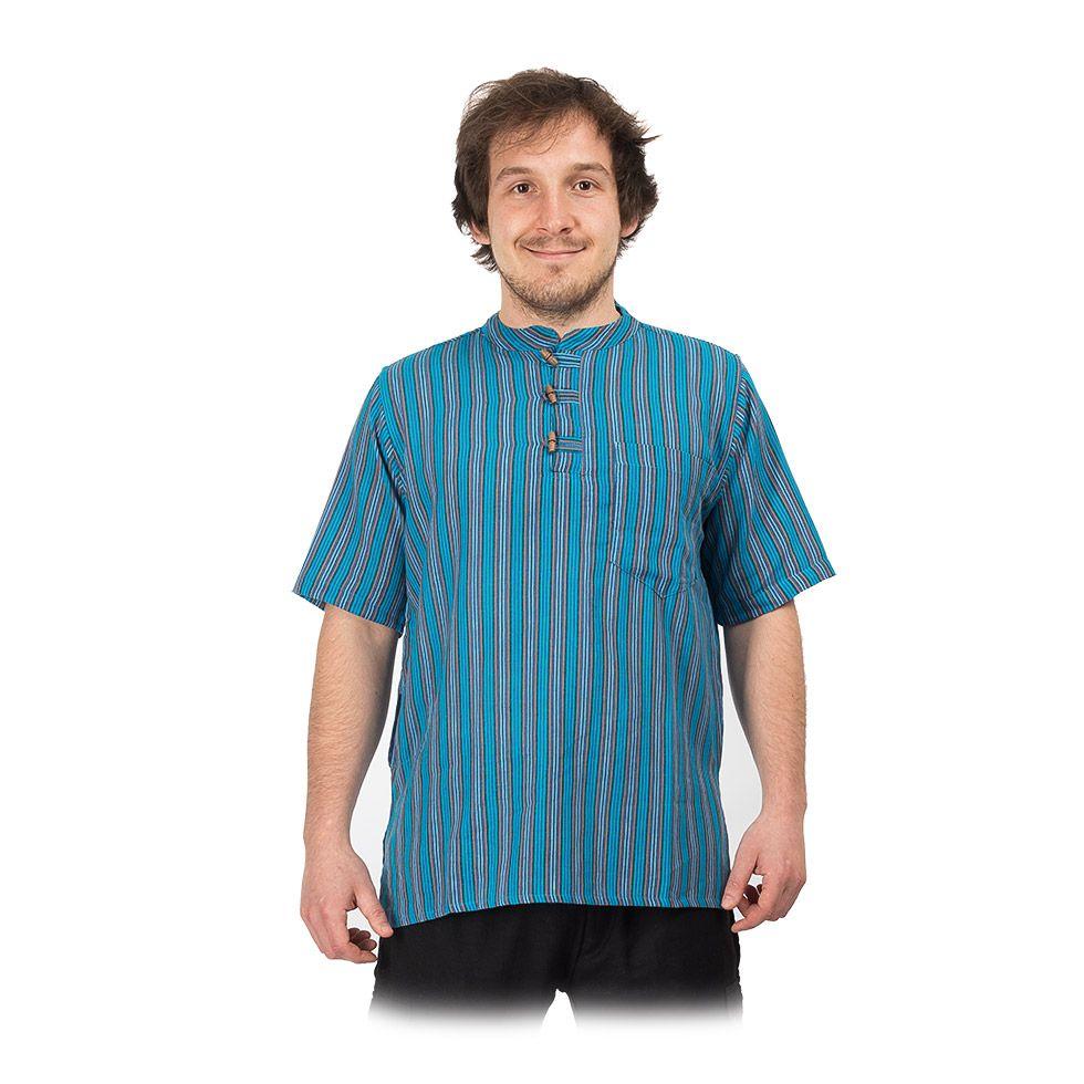 Kurta Pendek Pirus - pánska košeľa s krátkym rukávom Nepal