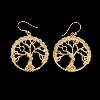 Mosadzné náušnice Tree of Life