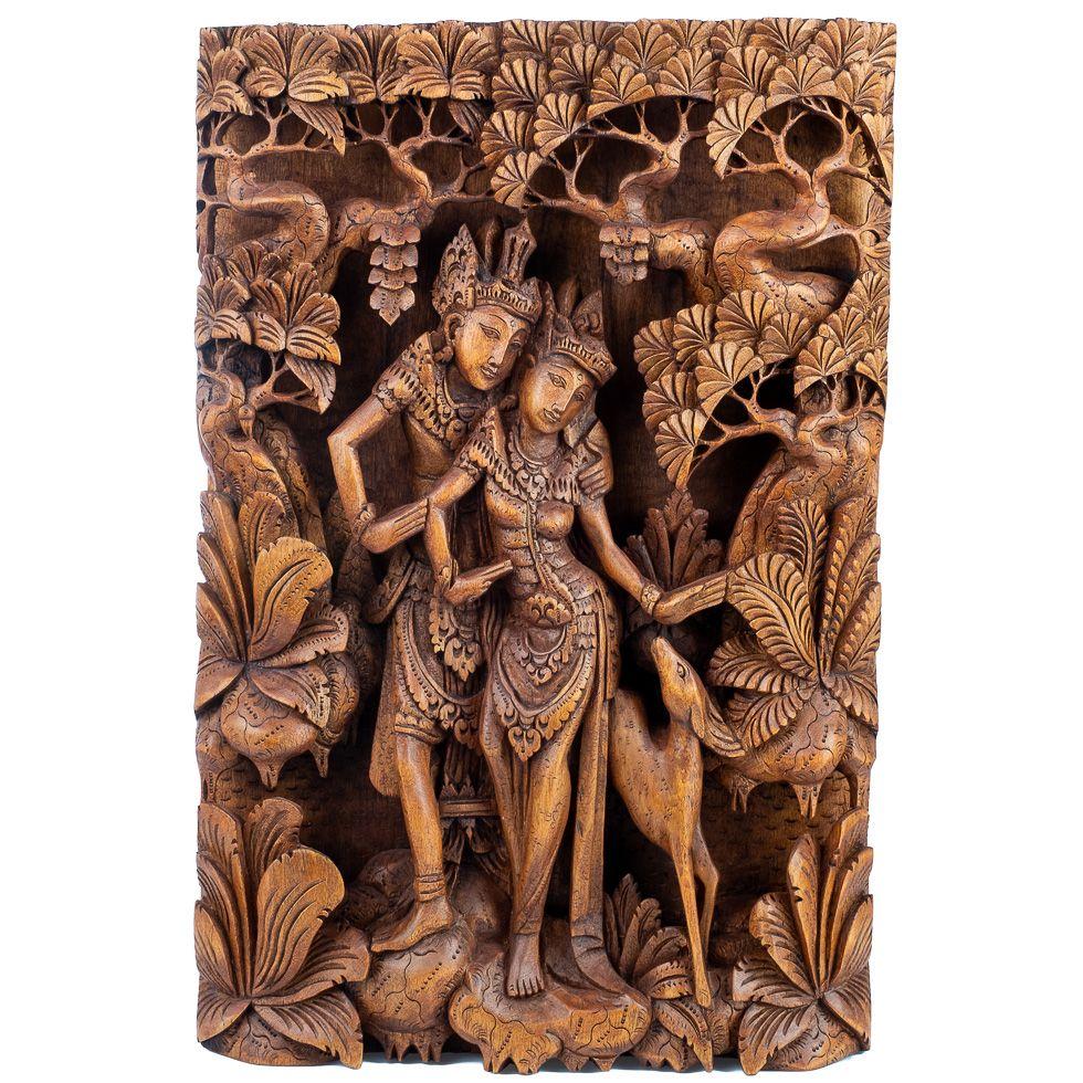 Vyrezávaná drevená plastika Ráma, Sita a zlatý srnec Marich Indonesia