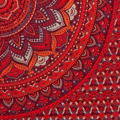 Bavlnený prehoz cez posteľ Lotosová mandala – červeno-fialový India