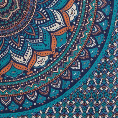 Bavlnený prehoz cez posteľ Lotosová mandala – modrý India
