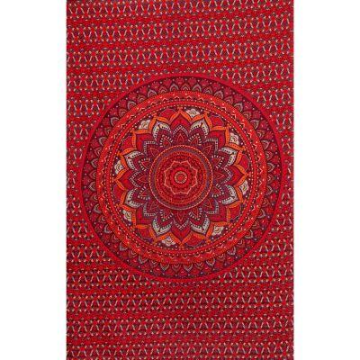 Bavlnený prehoz cez posteľ Lotosová mandala – červeno-fialový