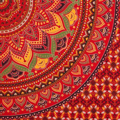 Bavlnený prehoz cez posteľ Lotosová mandala – ohnivý India