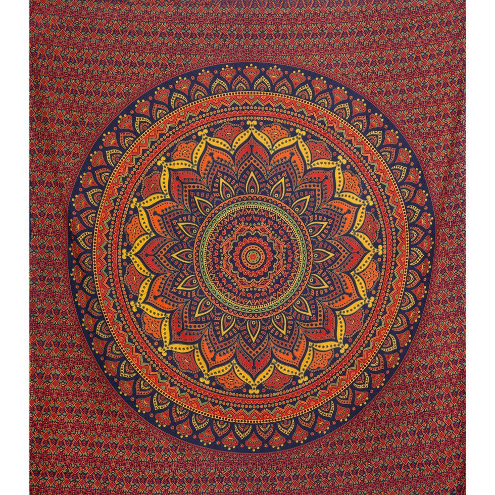 Bavlnený prehoz cez posteľ Lotosová mandala – veľký India