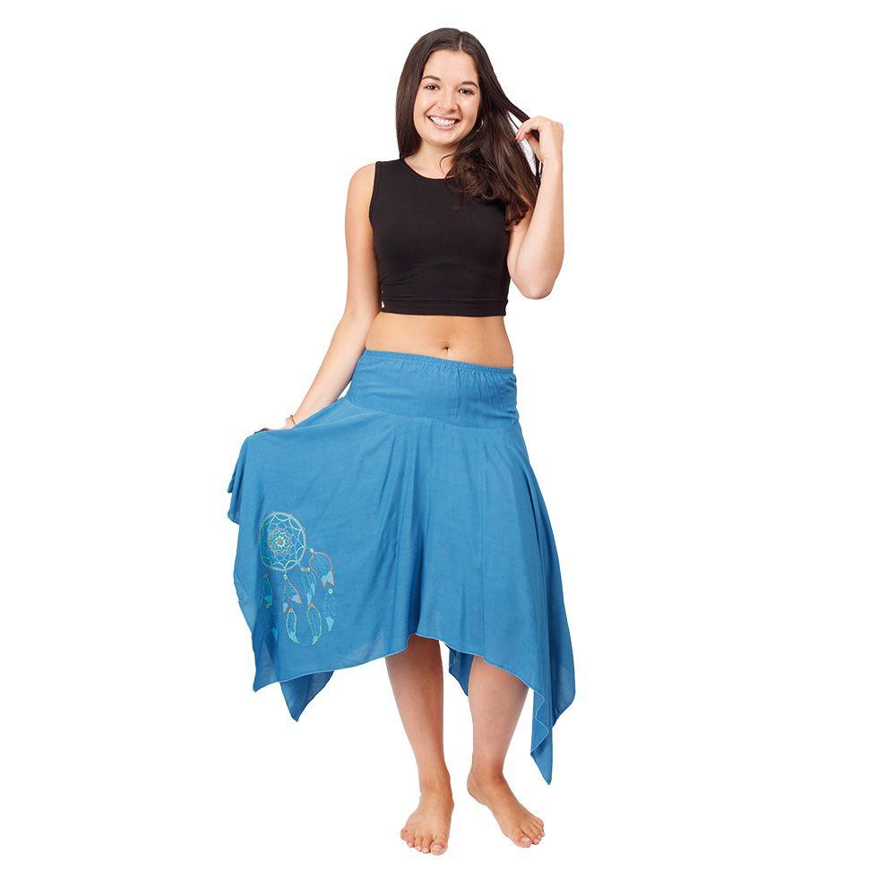 Cípatá sukňa s elastickým pásom Tasnim Blue Nepal