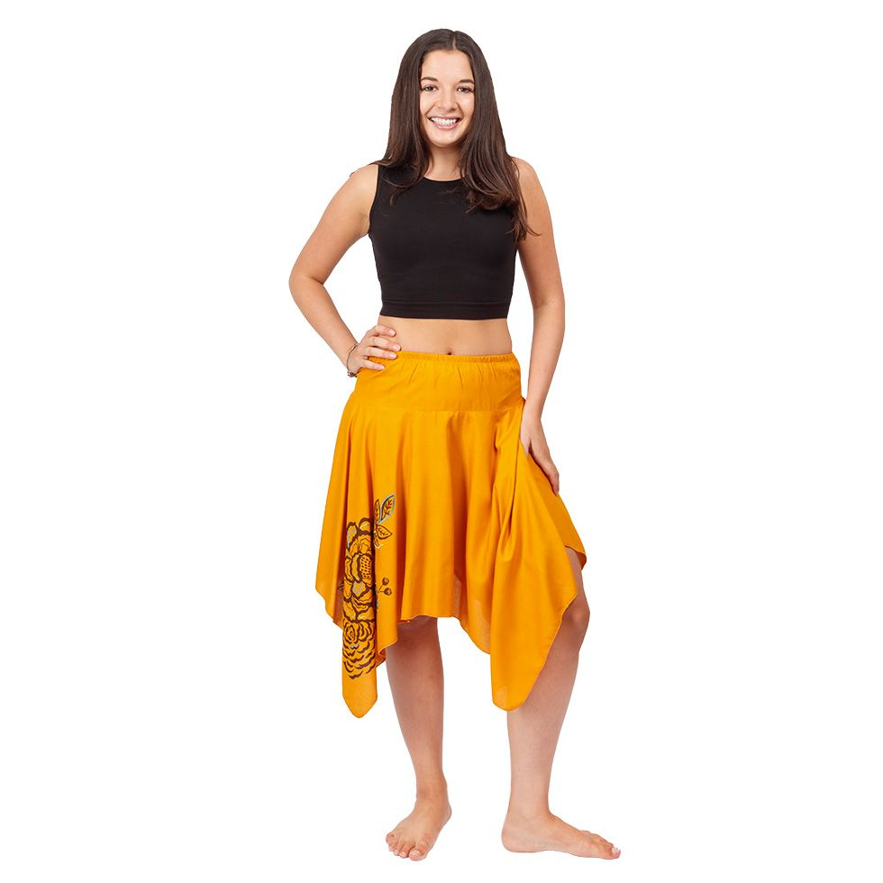 Cípatá sukňa s elastickým pásom Tasnim Mustard Nepal