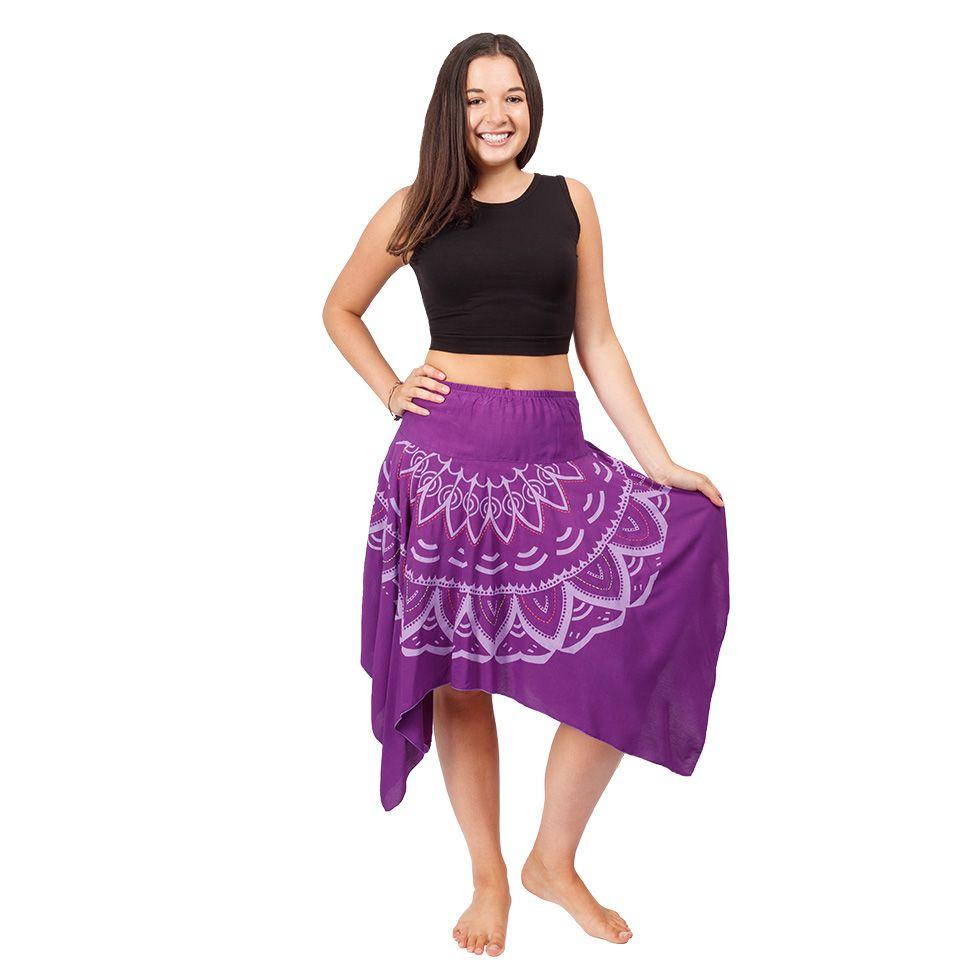 Cípatá sukňa s elastickým pásom Tasnim Purple Nepal