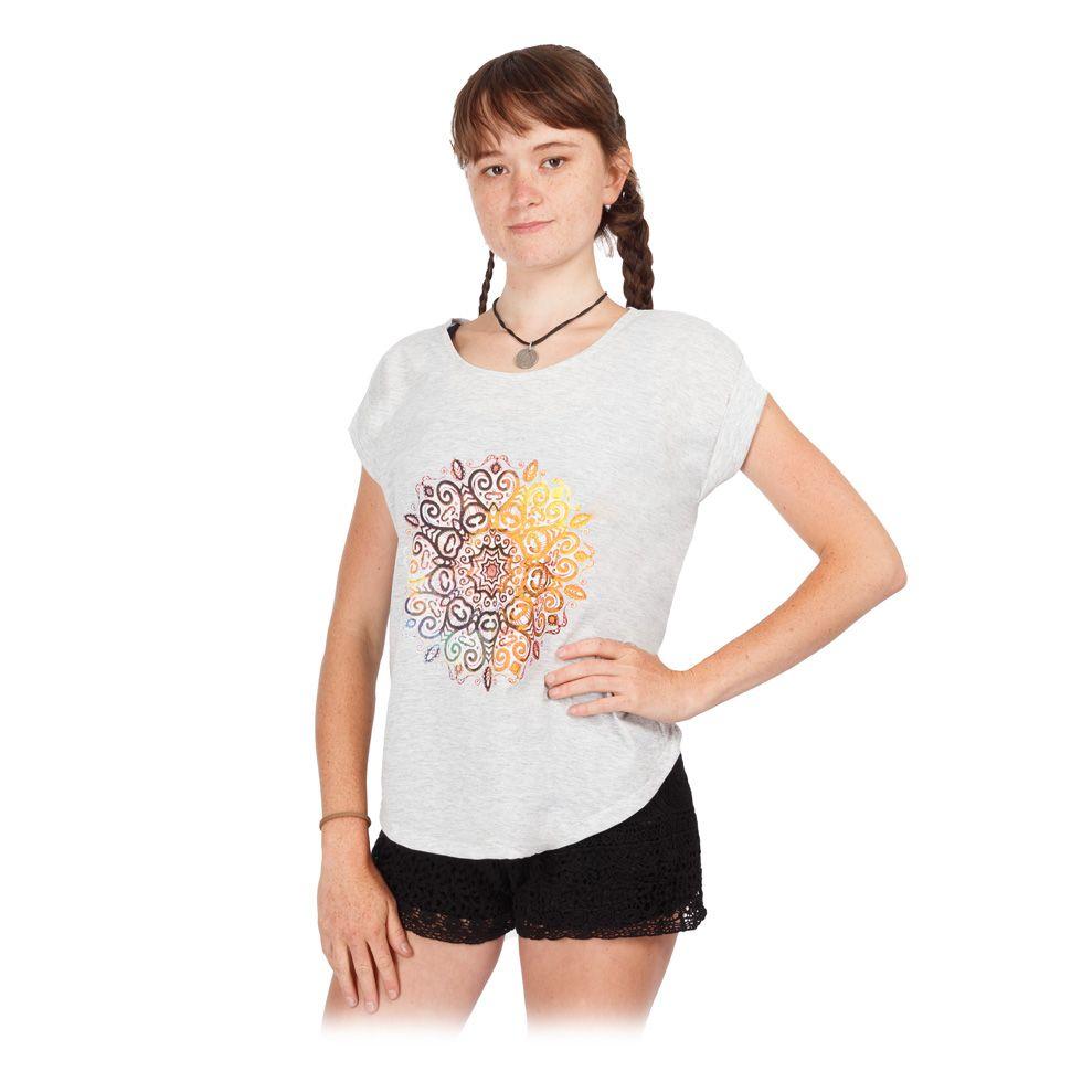 Dámske tričko s krátkym rukávom Darika Mandala Greyish Thailand
