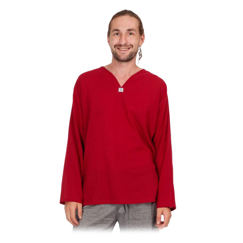Kurta Abiral Burgundy - pánska košeľa s dlhým rukávom Thailand