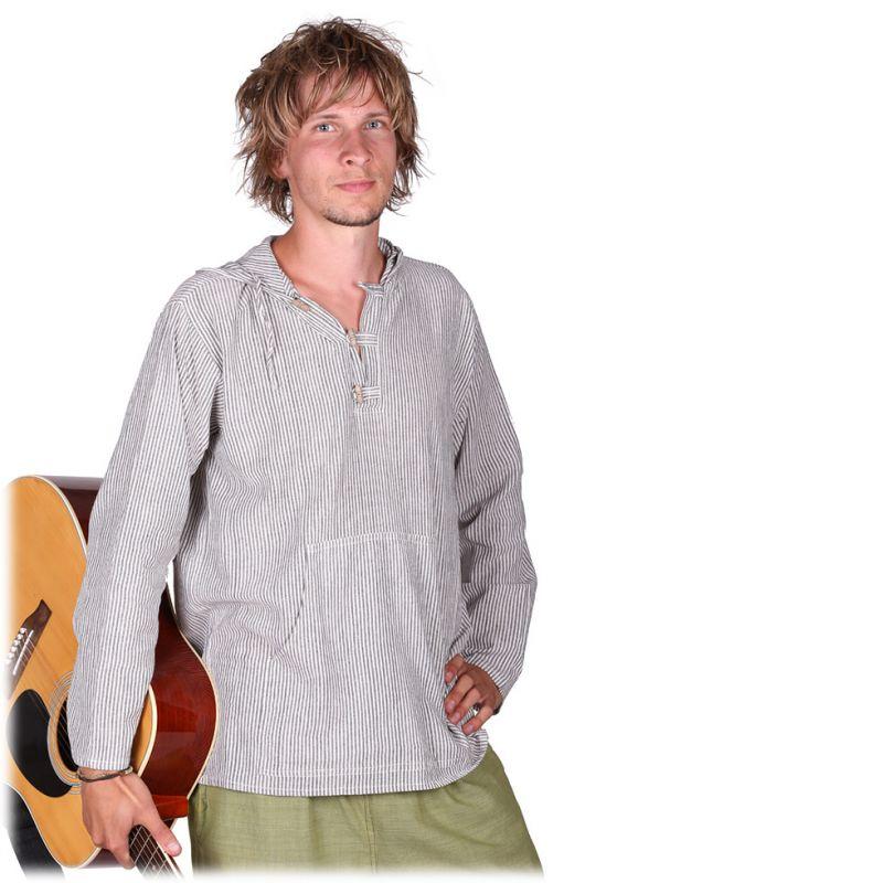 Kurta Ganet Garis - pánska košeľa s dlhým rukávom Nepal