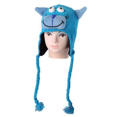 Vlnená čiapka Mačka - tyrkysová | S, M, L