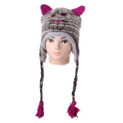 Vlnená čiapka Mačka - mourovatá | L