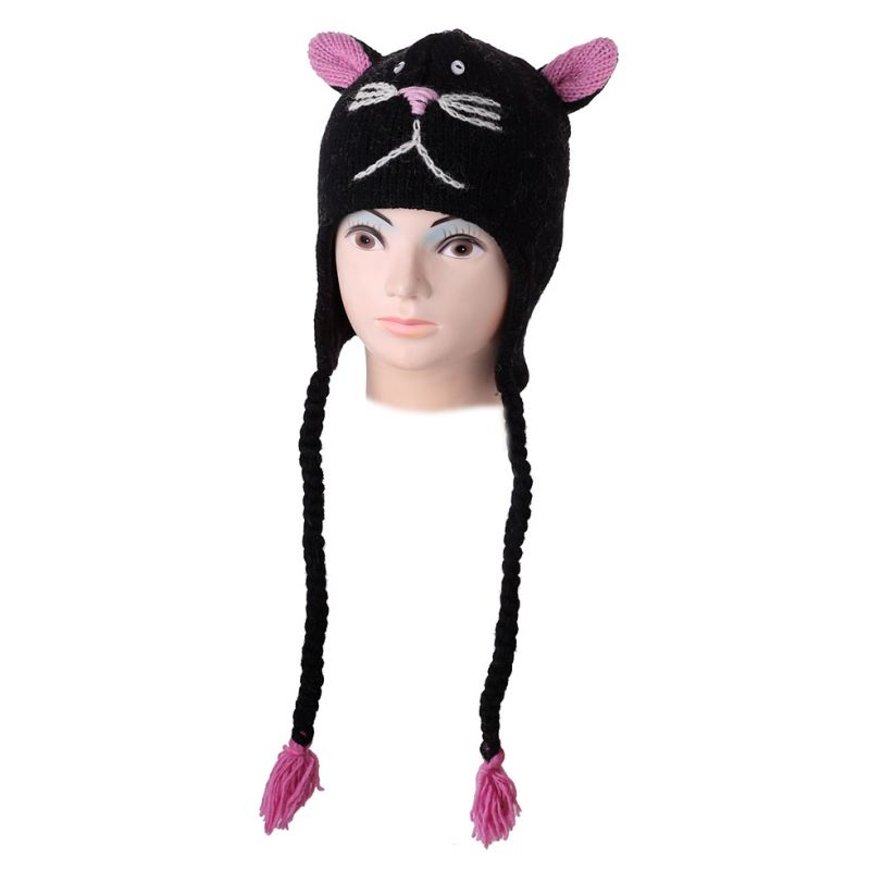 Vlnená čiapka Mačka - čierna