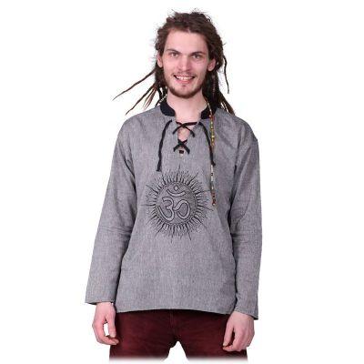 Kurta Matahari Kelabu - pánska košeľa s dlhým rukávom | M, XL, XXL