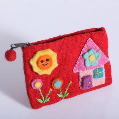 Plstená taštička s domčekom červená | azúrová, červená, ružová, svetlo fialová, tyrkysová