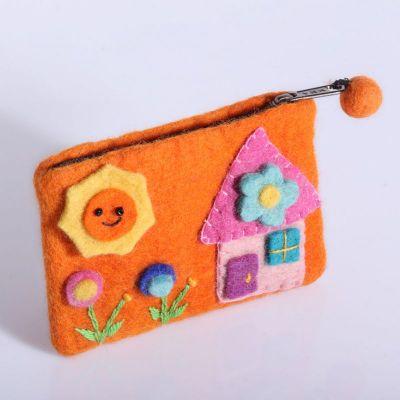 Plstená taštička s domčekom oranžová