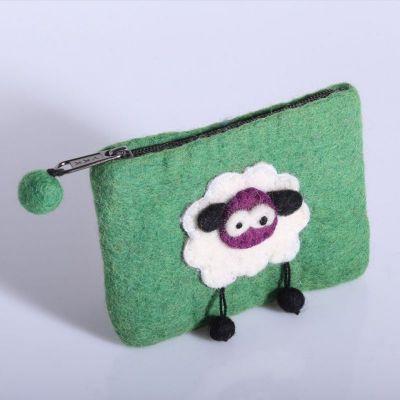 Plstená taštička s ovečkou | zelená, tmavo ružová