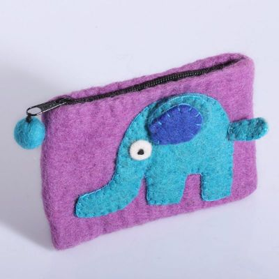 Plstená taštička so slonom | FIALOVÁ + tyrkys. slon, ORANŽOVÁ + ružový slon, RUŽOVÁ + fialový slon, RUŽOVÁ + modrý slon, SVETLE FIALOVÁ + fialový slon, TMAVO FIALOVÁ + ružový slon, TMAVO RUŽOVÁ + oranž. slon