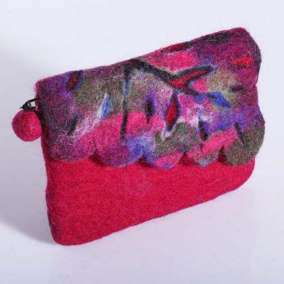 Plstená taštička s farebným listom Ružová | ružová, červená, fialová