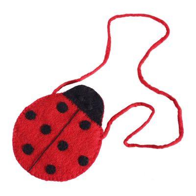Plstená kabelka v tvare lienky | červená, ružová