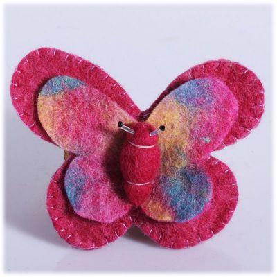 Plstená brošňa Motýľ Ružový | veľký