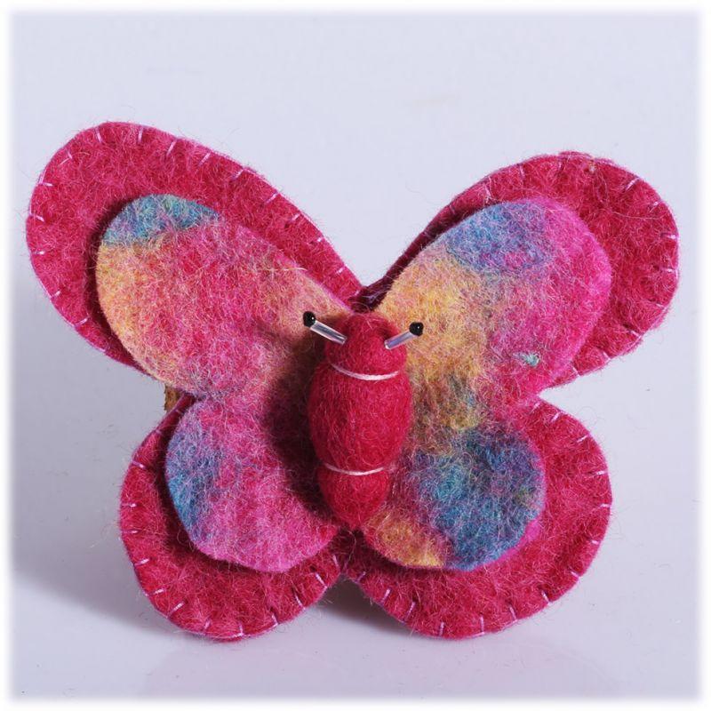 Plstená brošňa Motýľ Ružový