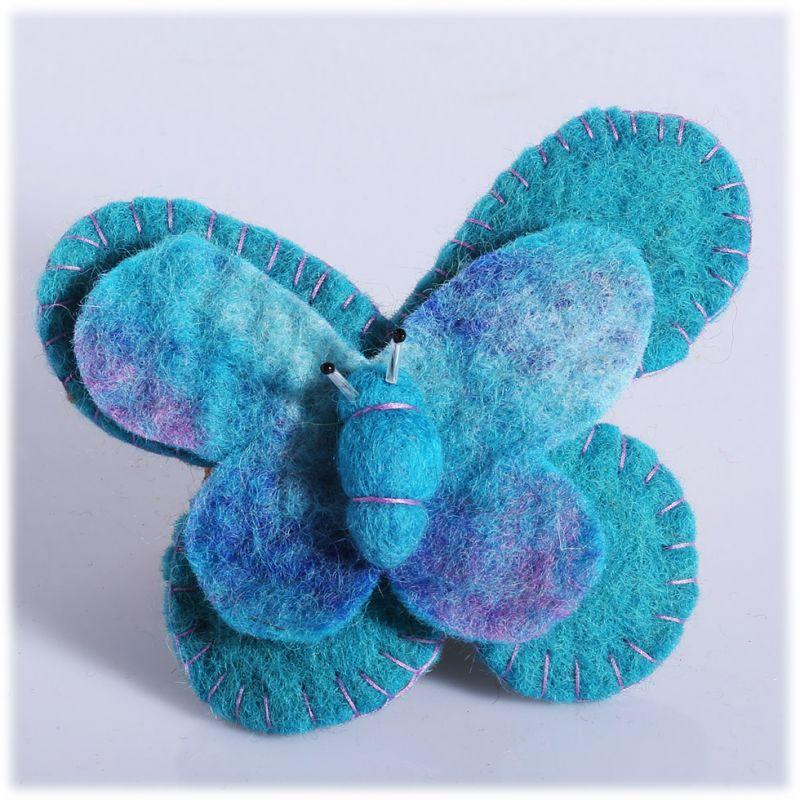 Plstená brošňa Motýľ Tyrkysový