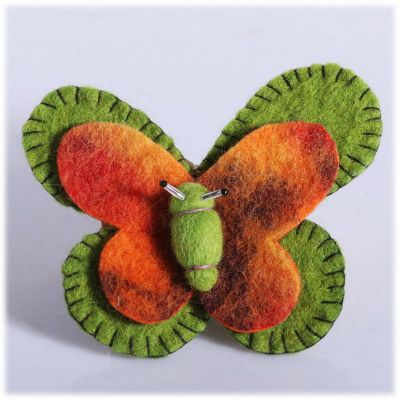 Plstená brošňa Motýľ Zeleno-oranžový