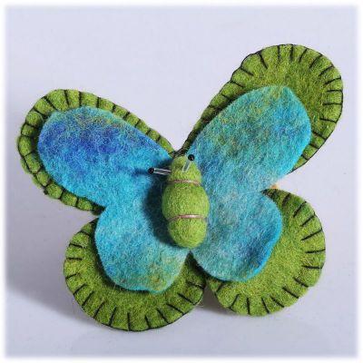Plstená brošňa Motýľ Zeleno-tyrkysový