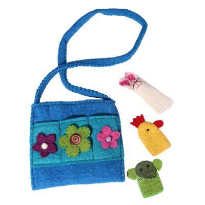 Plstená detská kabelka Zvieratká Azúrová