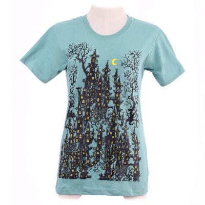 Dámske tričko Haunted Castle Green   XS, sivé, veľkosť S