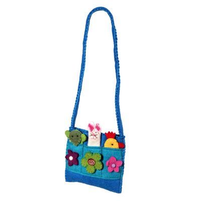 Plstená detská kabelka Zvieratká Azúrová | svetlo zelená