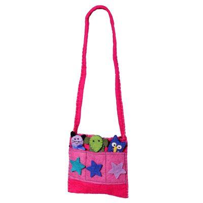 Plstená detská kabelka Zvieratká Ružová | vínová