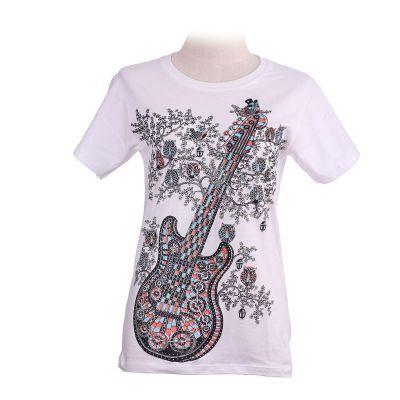 Dámske tričko Guitar White   L