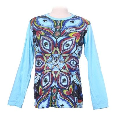 Tričko Eye Mandala Turquoise - dlhý rukáv