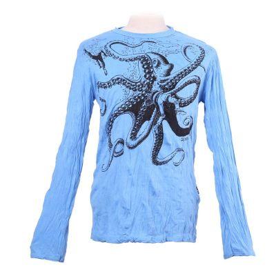 Pánske tričko Sure s dlhým rukávom - Octopus Attack Turquoise | M, L, XL