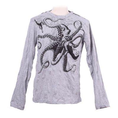 Pánske tričko Sure s dlhým rukávom - Octopus Attack Grey | L, XL
