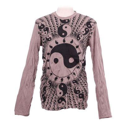Pánske tričko Sure s dlhým rukávom - Yin&Yang Brown | M, L, XL
